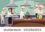 Stock vector restaurant kitchen flat vector illustration cafe workers in professional uniform cooking food 1513563521