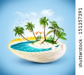 tropical island in the seashell.... | Shutterstock . vector #151357391