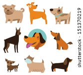 Stock vector vector set of funny cartoon dogs illustration in flat style 151370219