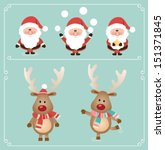 set of cute santa claus and...   Shutterstock .eps vector #151371845