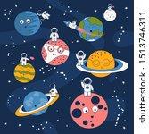cartoon pattern with astronaut... | Shutterstock .eps vector #1513746311