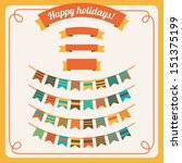 set of bunting and garland in... | Shutterstock .eps vector #151375199