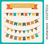 set of bunting and garland in... | Shutterstock .eps vector #151375211