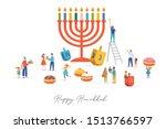 happy hanukkah  jewish festival ... | Shutterstock .eps vector #1513766597