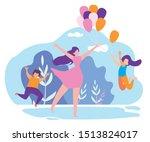 mother giving children... | Shutterstock .eps vector #1513824017