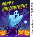 ghosts poster. happy halloween...   Shutterstock .eps vector #1513843274