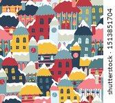 Winter City Cityscape Cartoon...