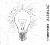 sketch light bulb on grunge... | Shutterstock . vector #1513881287