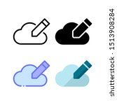 cloud edit icon. with outline ...