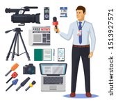 news reporter with microphone.... | Shutterstock .eps vector #1513927571