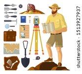 archaeologist near archaeology... | Shutterstock .eps vector #1513927937