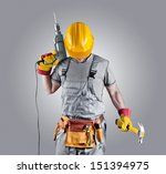 builder in a helmet with a... | Shutterstock . vector #151394975
