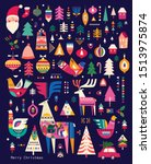 decorative christmas collection ... | Shutterstock .eps vector #1513975874