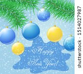 happy new year greeting cardw... | Shutterstock .eps vector #1514027987