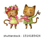 Watercolor Couple Of Cats In...