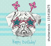 amusing,animal,art,background,blue,card,cartoon,celebration,color,comedy,crazy,cute,dog,drag,drawing