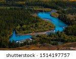 Blue Rapid River Flows Through...