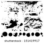 black scratched  crumpled... | Shutterstock . vector #151419917