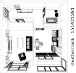 layout of the apartment. wire... | Shutterstock .eps vector #151421381