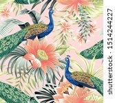 tropical vintage peacock bird ... | Shutterstock .eps vector #1514244227