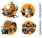 vector set for halloween  four... | Shutterstock .eps vector #1514363447