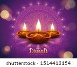 Happy Diwali Design With Diya...