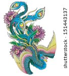 japanese style peacock | Shutterstock .eps vector #151443137