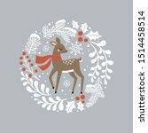 cute hand drawn vector deer in... | Shutterstock .eps vector #1514458514