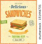vintage sandwiches poster.... | Shutterstock .eps vector #151446731