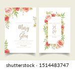 wedding invitation with floral... | Shutterstock .eps vector #1514483747