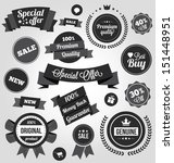 black and white vector stickers ... | Shutterstock .eps vector #151448951