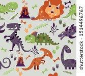 seamless dino pattern  print... | Shutterstock .eps vector #1514496767