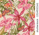 tropical floral seamless... | Shutterstock .eps vector #1514532161