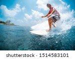 young caucasian man surfs the... | Shutterstock . vector #1514583101