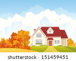 Vector illustration of an autumn suburban house - stock vector