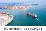 Aerial View Cargo Ship Of...