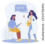 cartoon woman sit in wheelchair ... | Shutterstock .eps vector #1514736401