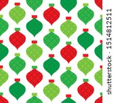 red and green christmas baubles ... | Shutterstock .eps vector #1514812511