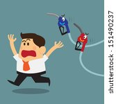 business man scary and run away ...   Shutterstock .eps vector #151490237