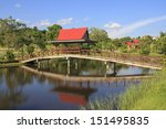 thai pavilion and wooden bridge ...   Shutterstock . vector #151495835