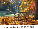 bench in autumn park. autumn... | Shutterstock . vector #151501787