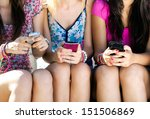 three girls chatting with their ... | Shutterstock . vector #151506869