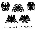 Постер, плакат: Silhouettes of black eagles