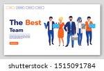 best team landing page vector...