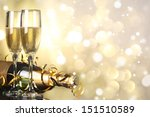 flutes of champagne in holiday... | Shutterstock . vector #151510589