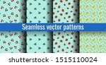 seamless pattern set. cherry ... | Shutterstock .eps vector #1515110024