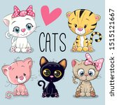 set of cute cartoon cats on a... | Shutterstock . vector #1515121667