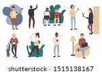 crowd of young men and women...   Shutterstock .eps vector #1515138167