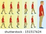 teen boy walking cycle | Shutterstock .eps vector #151517624