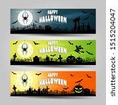 set of three halloween banners  | Shutterstock .eps vector #1515204047